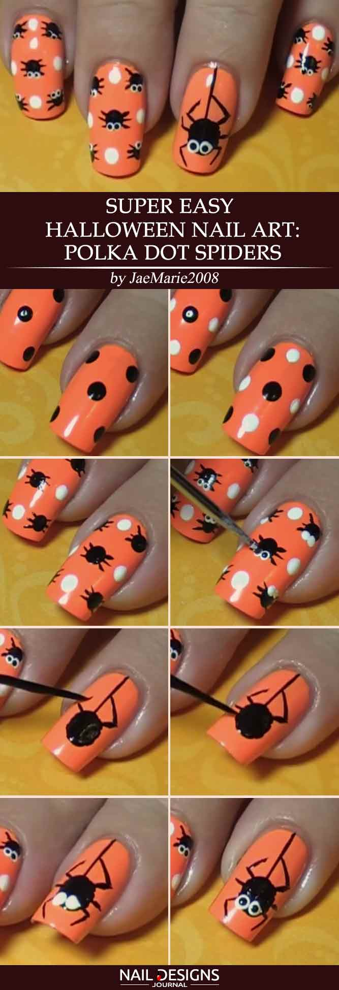 Halloween Nail Art Polka Dot Spiders