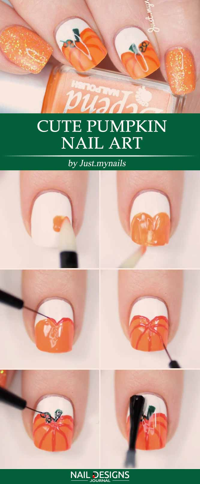 10 easy halloween nails tutorials naildesignsjournal cute pumpkin nail art prinsesfo Choice Image