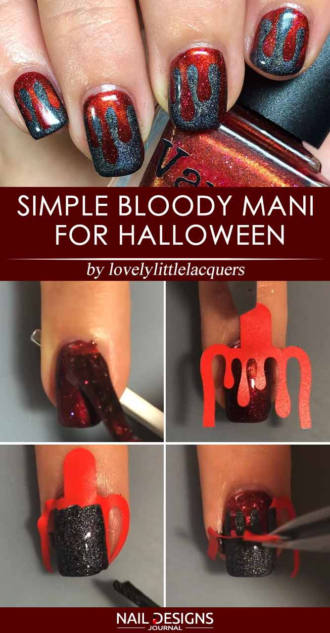 Simple Bloody Mani For Halloween