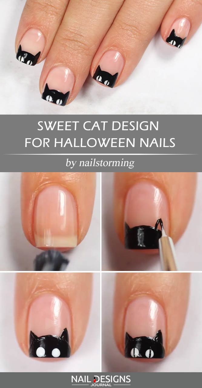 Sweet Cat Design For Halloween Nails