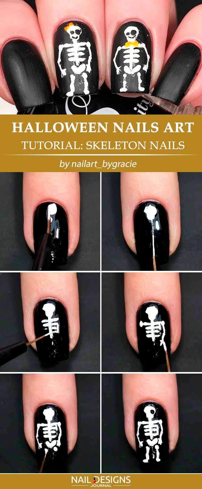 Cute And Easy Skeleton Nails