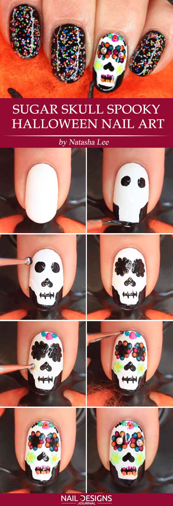 sugar skull halloween nail art