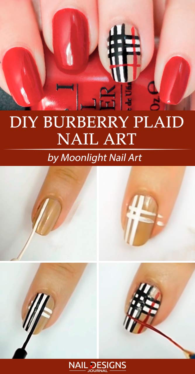 Burberry Plaid Nail Art #handpaintednails #fallnailart