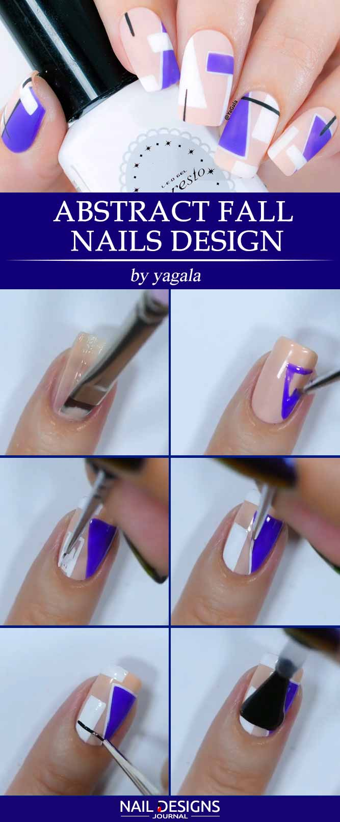 Abstract Fall Nails Design