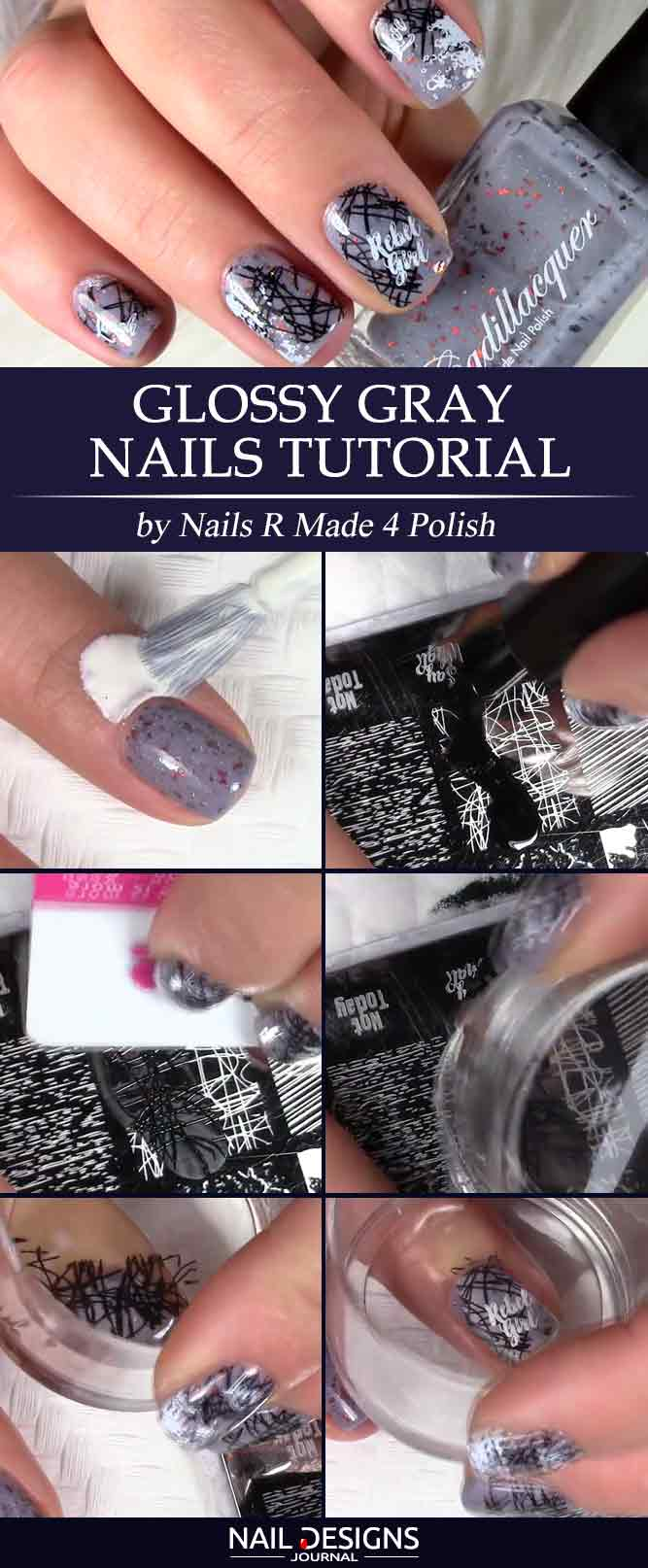 Glossy Gray Nails Tutorial