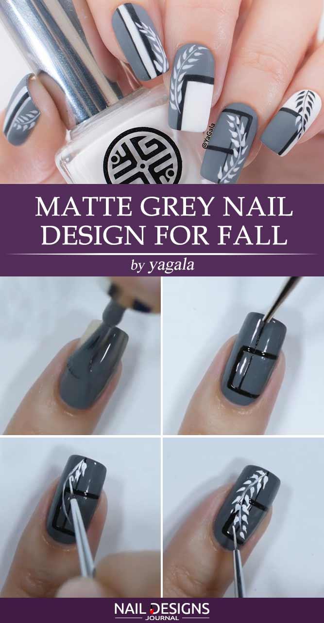 Matte Grey Nail Design For Fall