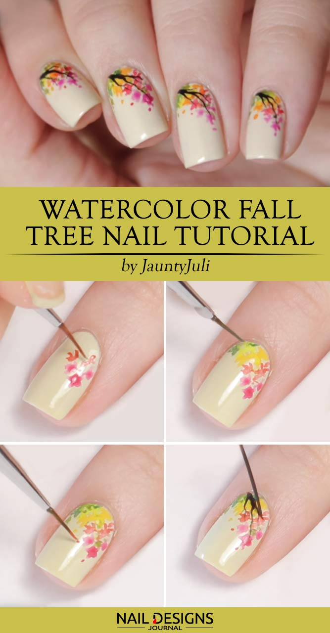 Watercolor Fall Tree Nail Tutorial