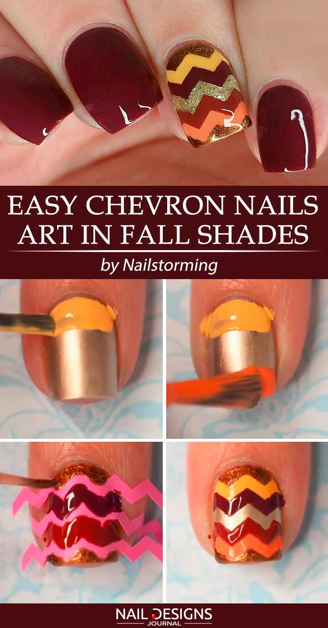 Easy Chevron Nail Art In Fall Shades #chevronnails #fallnailart