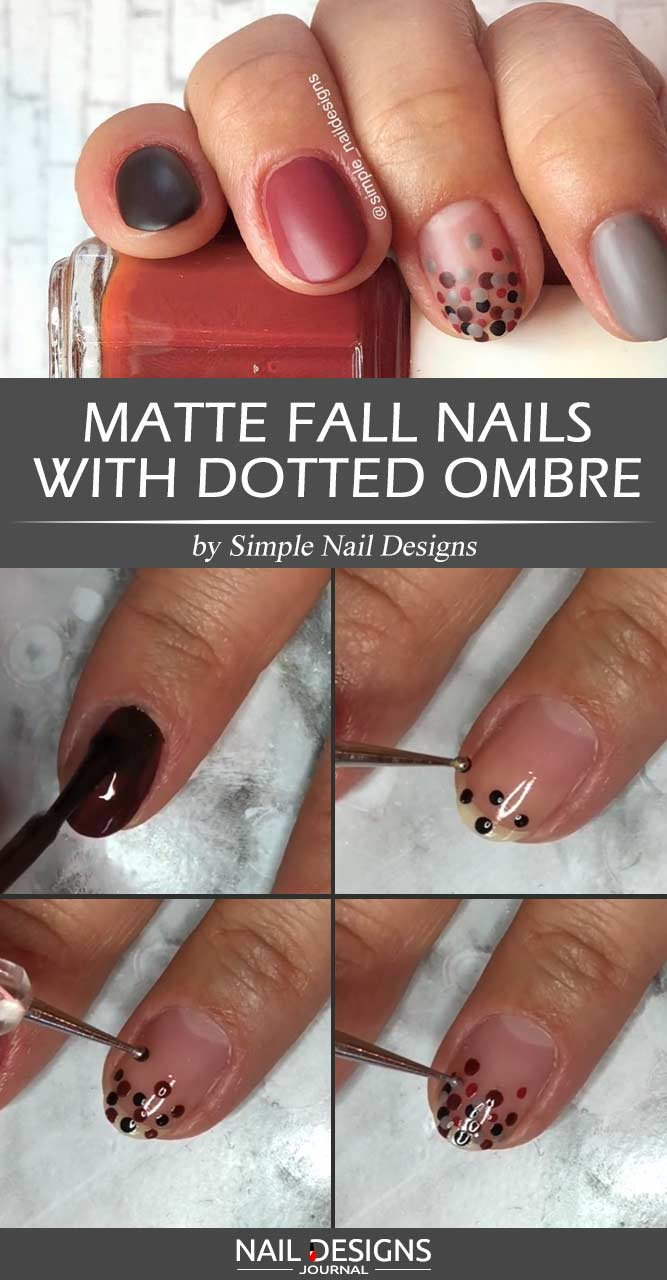 Matte Fall Nails With Dotted Ombre