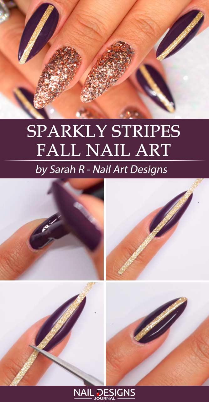 Sparkly Golden Sugared Striped Nail Art #glitternails #stripednails