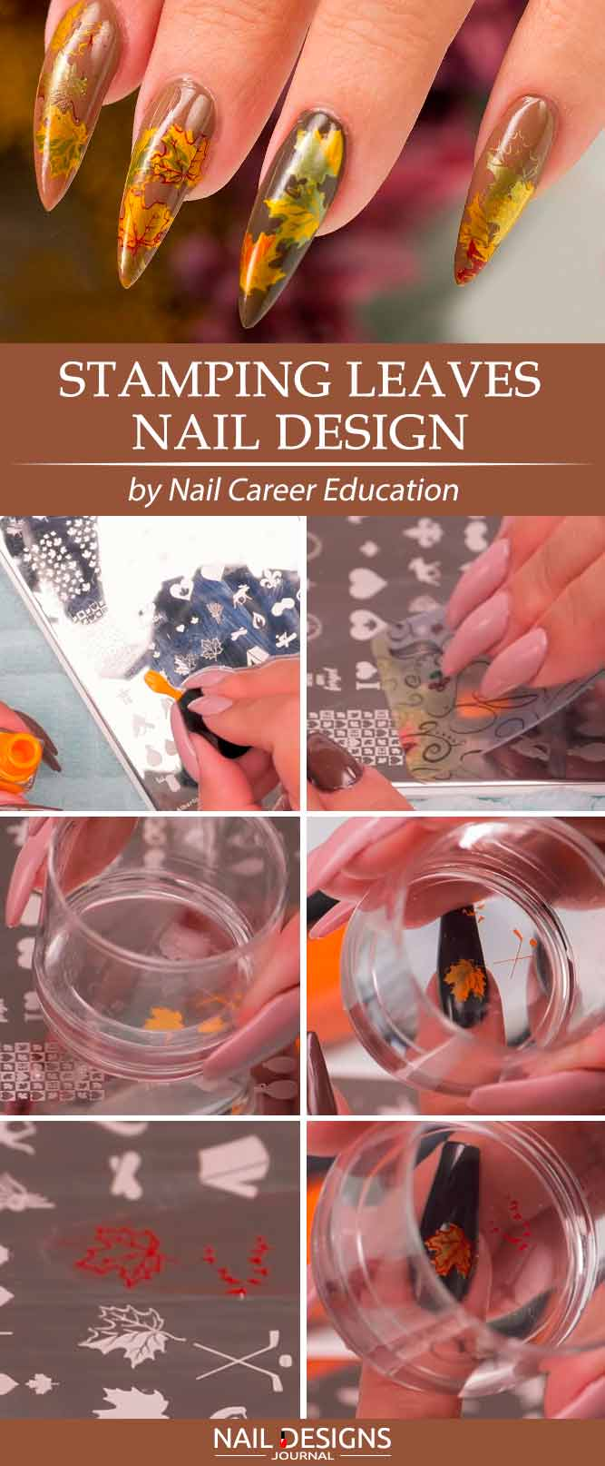 Stamping Leaves Nail Design #stampingnails #fallnailart