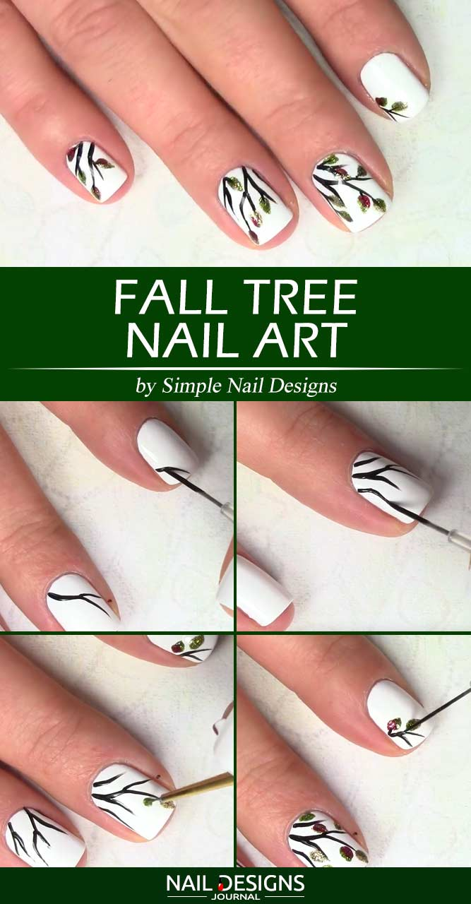 Fall Tree Nail Art