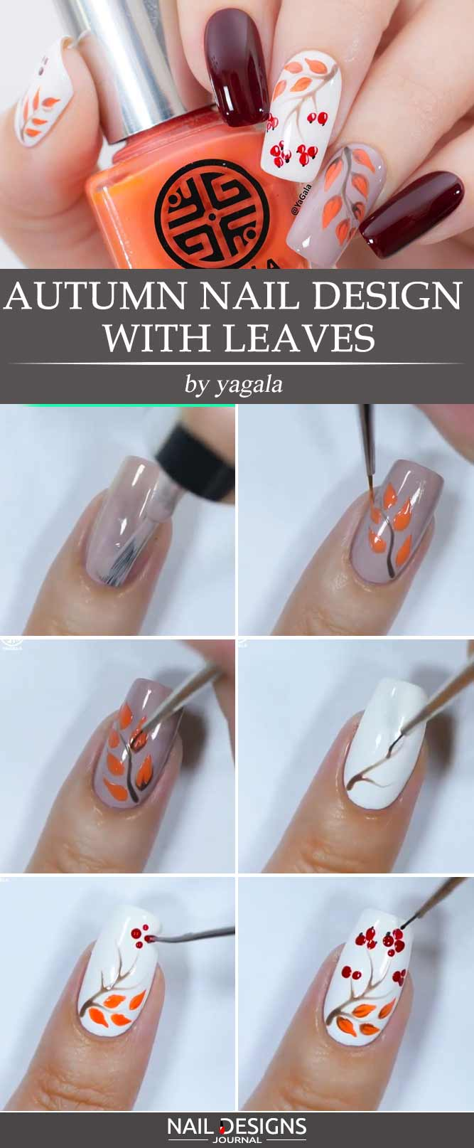 Autumn Nail Design With Leaves