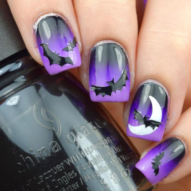 Halloween Nails with Bats picture 1