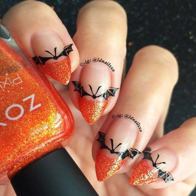 Halloween Nails with Bats picture 3