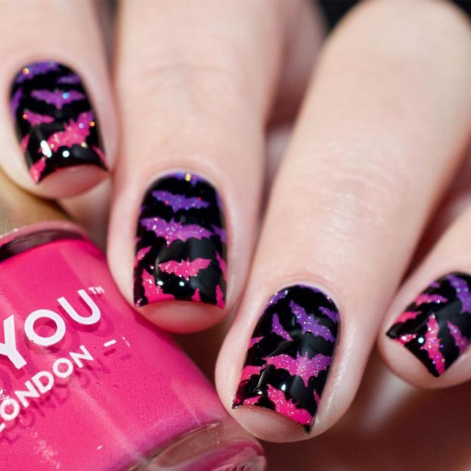 Halloween Nails with Bats picture 2