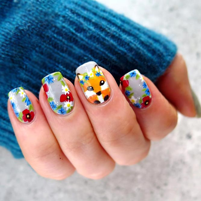 Colorful Foxy Design Nails