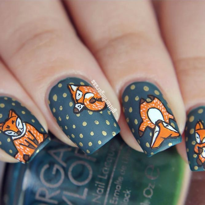 Funny Foxy Design For Square Nails