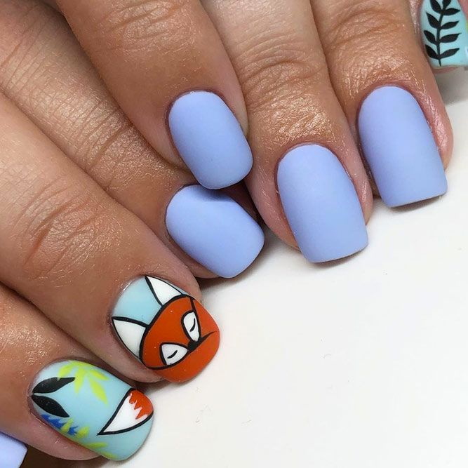 Blue Matte Nails And Foxy Nail Art