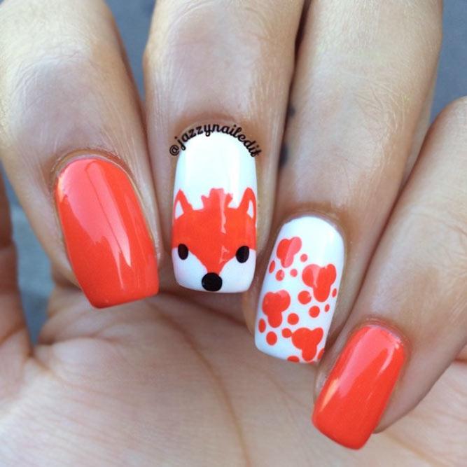 Orange Foxy Nail Art