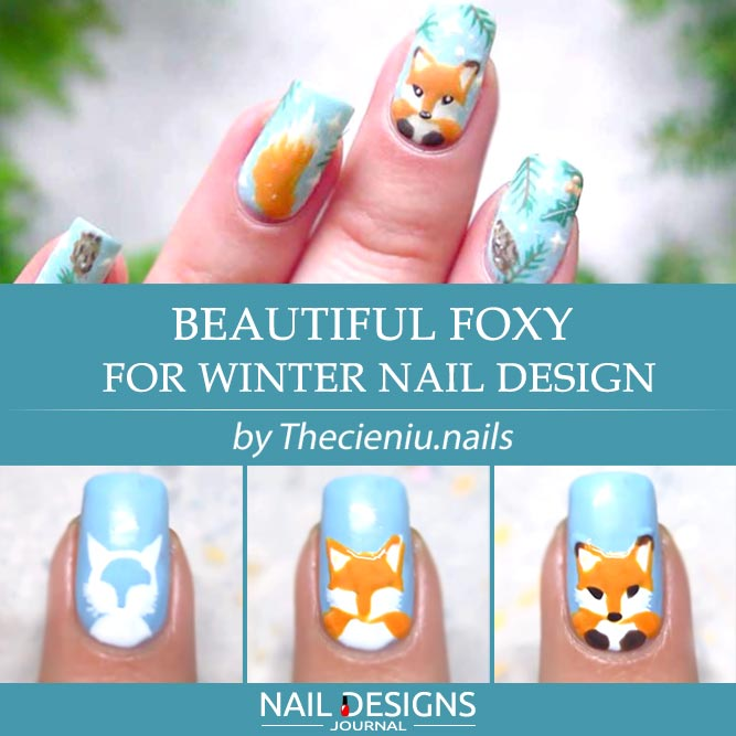 Beautiful Foxy For Winter Nail Design