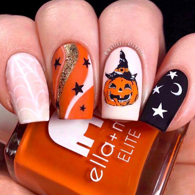 Classic Matte Halloween Nail Art