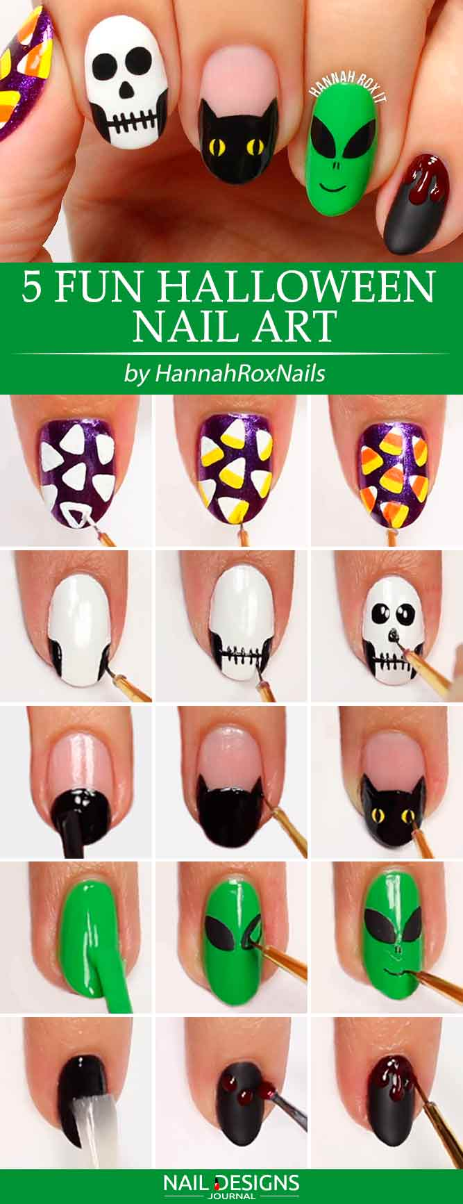 7 super easy halloween nail art ideas naildesignsjournal 5 fun halloween nail art prinsesfo Images