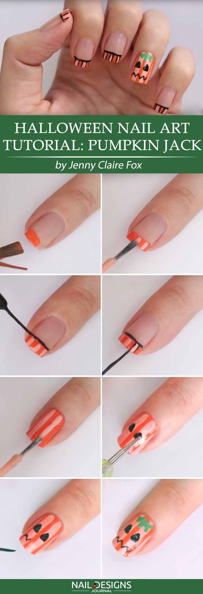 Halloween Nail Art Tutorial Pumpkin Jack