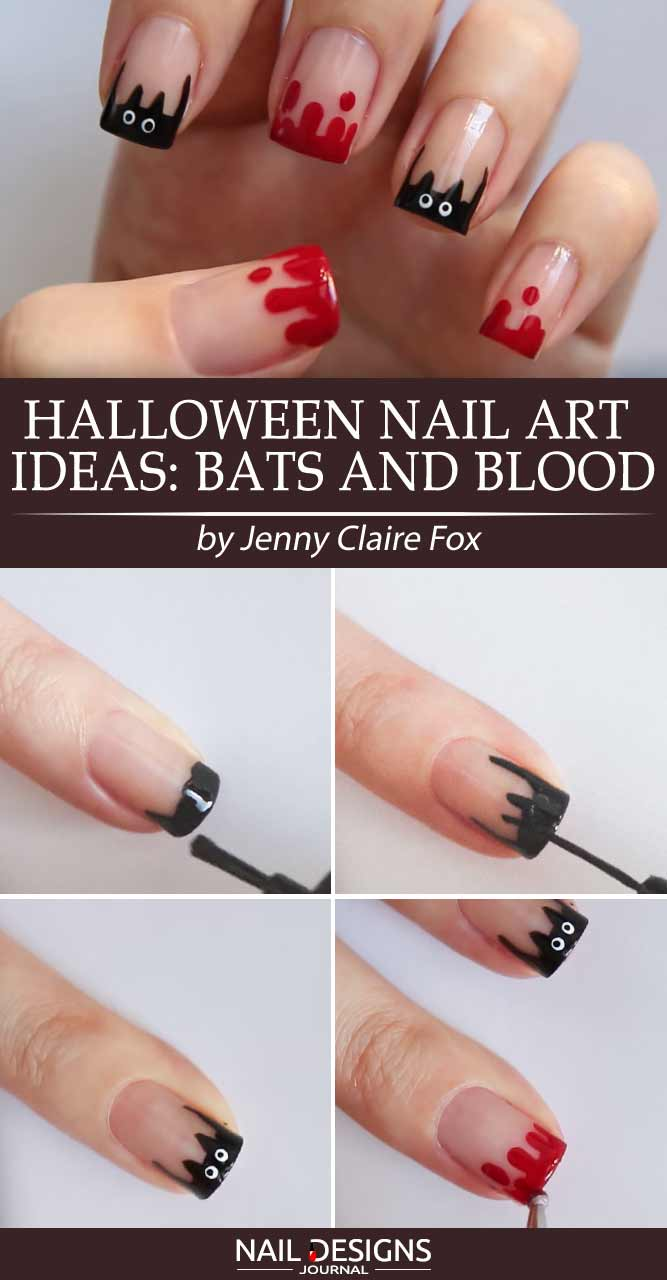 Halloween Nail Art Ideas Bats and Blood