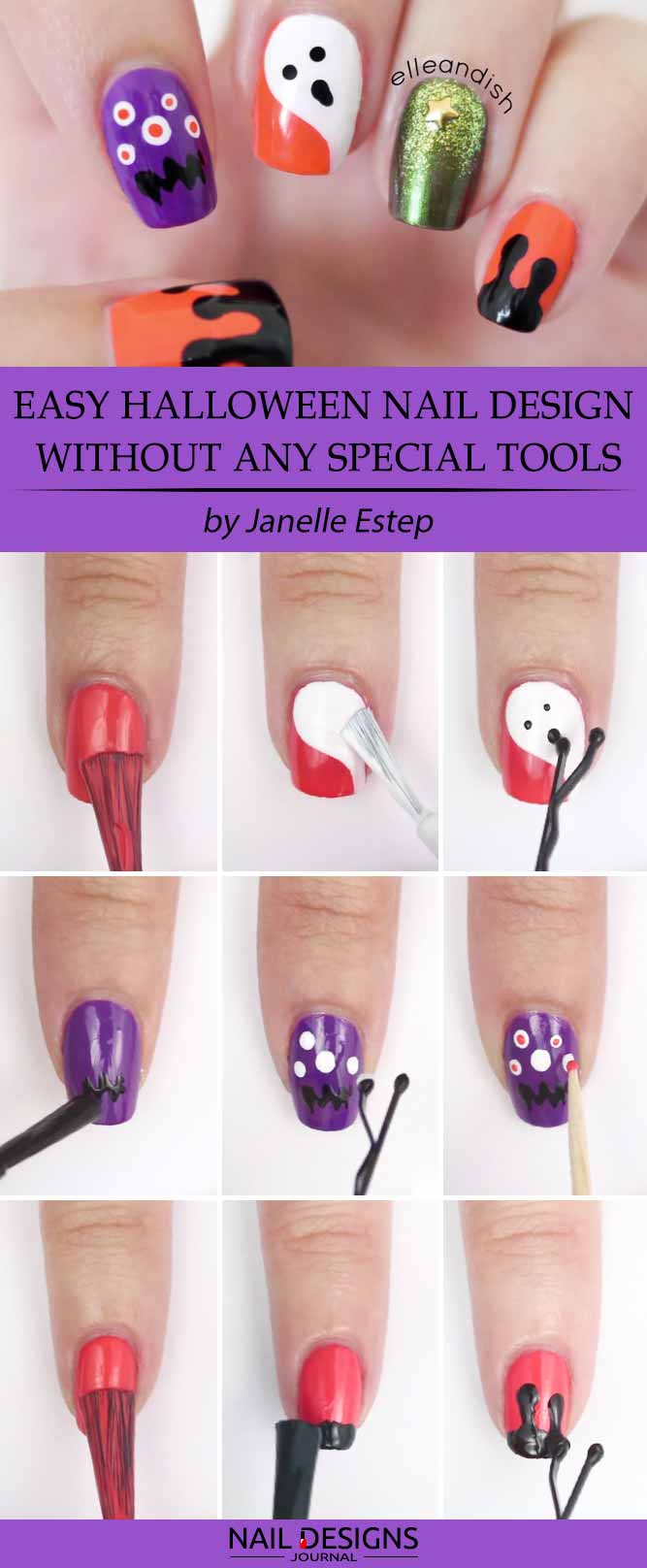 Easy Halloween Nail Design without Any Special Tools