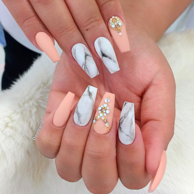 Marble Prom Nails for Sweet Girls picture 2