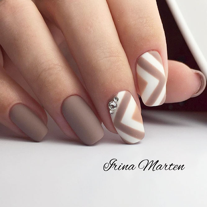 Matte Beige Nails With Beautiful Accents picture 2