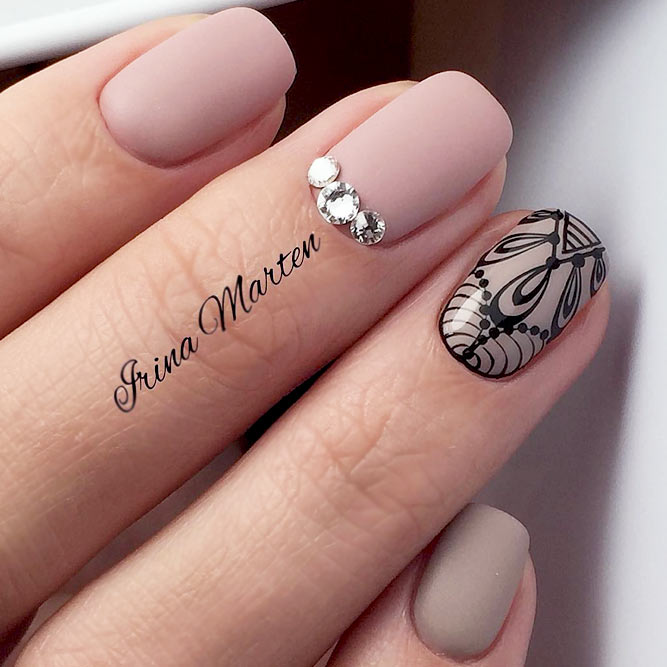 Matte Beige Nails With Beautiful Accents picture 3