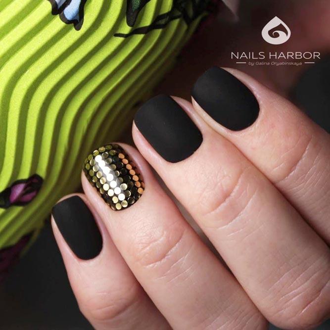 Add To Matte Black Nails Some Gold Shine #blacknails #sequinsnails
