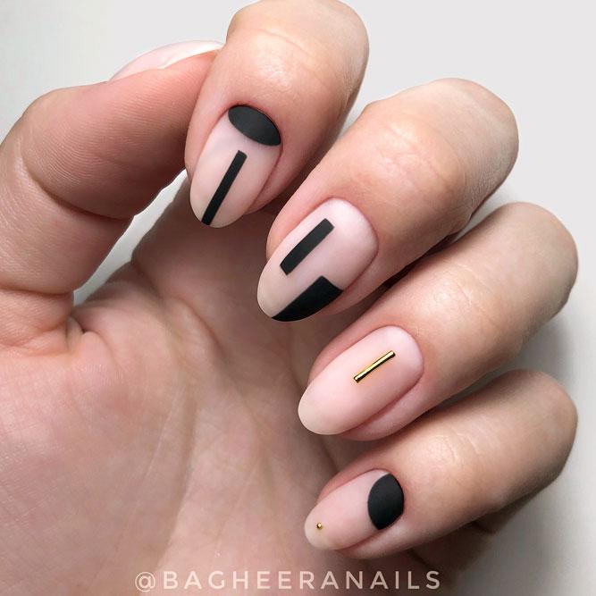 Nude And Black Cool Negative Space Matte Nails #blacknails #negativespasenails #minimalistnails