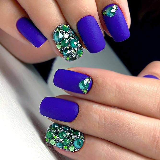 Royal Blue Matte Nails With Rhinestones