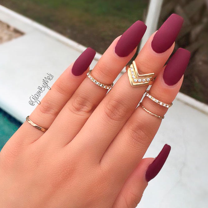 Royal Burgundy Matte Nails picture 1