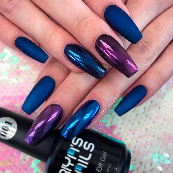 Deep Blue Matte Nails Look Fabulous picture 2