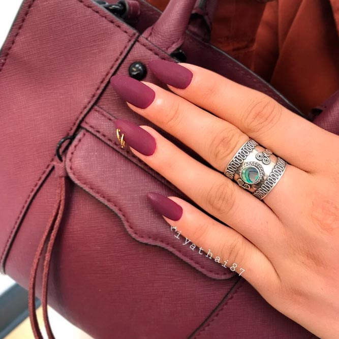 Royal Burgundy Matte Nails picture 2