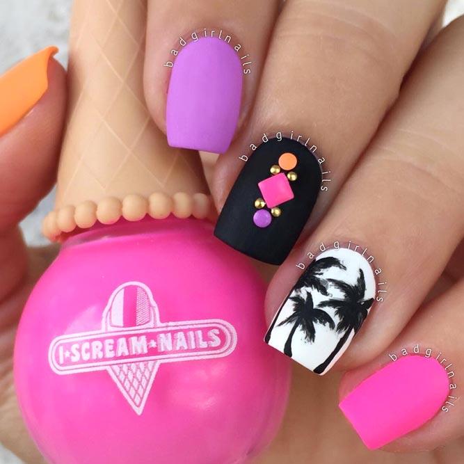 Enjoy Summer Matte Top Coat For A Palm Manicure In Pink Shades #pinknails #neonnails #summernails #palmnails #tropicnails