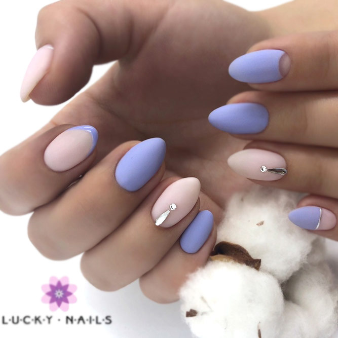 Lilac Nail Art With Nude Accent