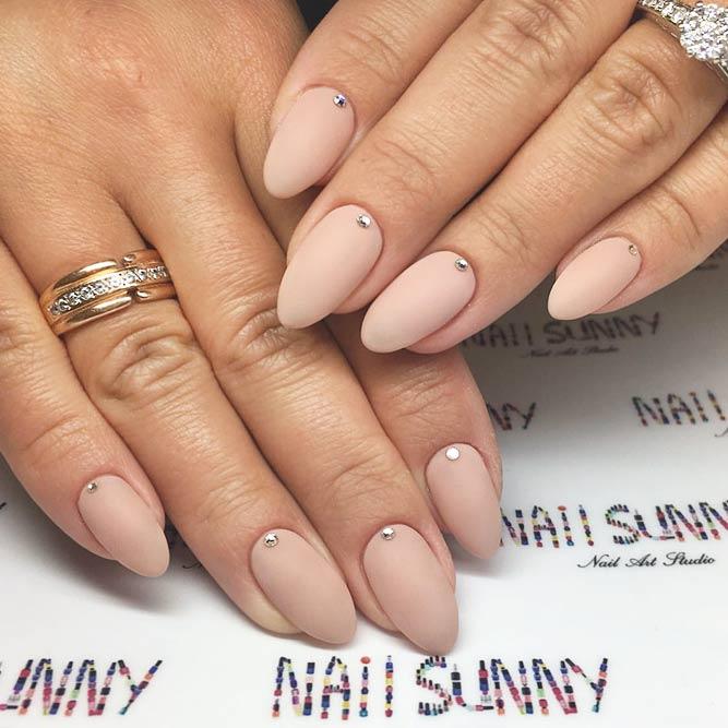 Top Elegant Idea Nude Matte Manicure With Tiny Rhinestones #nudenails #rhinestonesnails #mattebeige