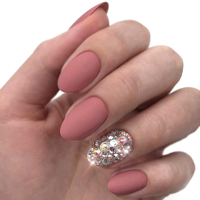 Peachy Nude Nails With Rhinestone Accent Nail
