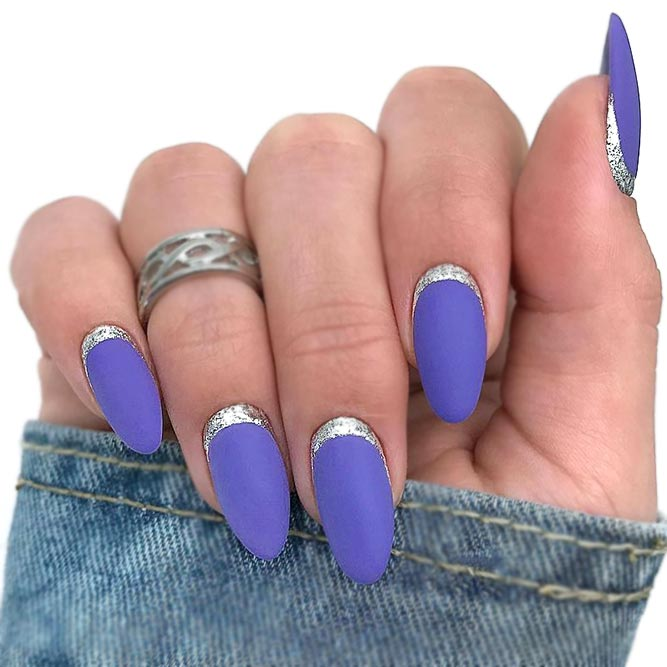 Purple Nail Art With Silver Ruffian Accent