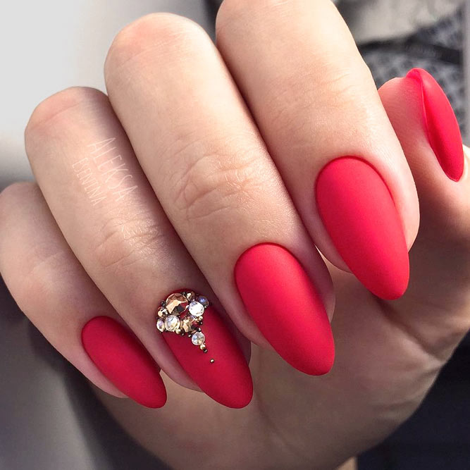Hot Red With Matte Finish and Rhinestones Accent #rednails #rhinestonesnails
