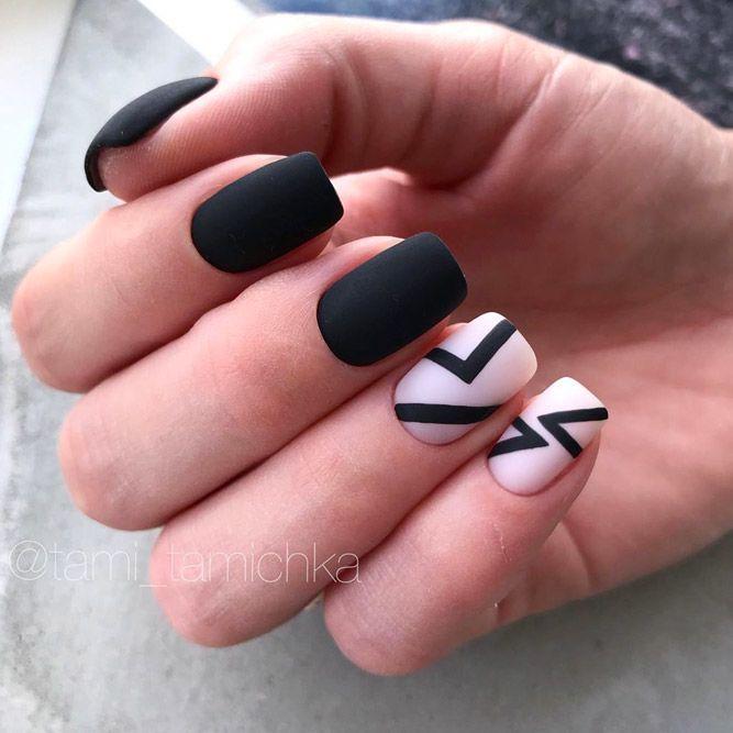 Matte Geometric Nail Design