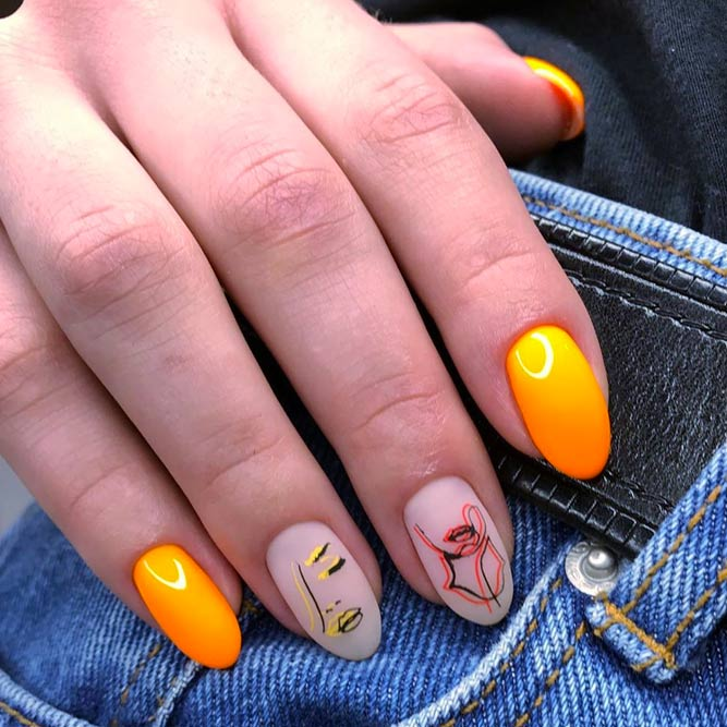 Yellow Abstract Nail Art With Negative Space