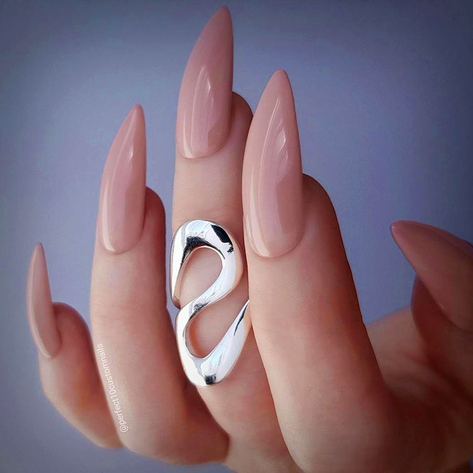 Nude Stiletto Nails Idea #stilettonails #longnails