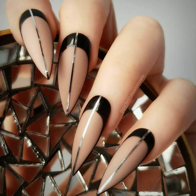 Nude Nails Shades With Black Color #blacknails #nudenails #stilettonails