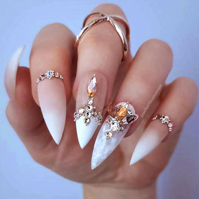 Gorgeous Stiletto Nils Designs You Will Love #frenchnails #ombrenails #stilettonails